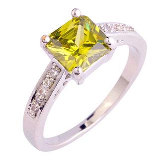 Princess Peridot & White Topaz Gemstones Silver Ring