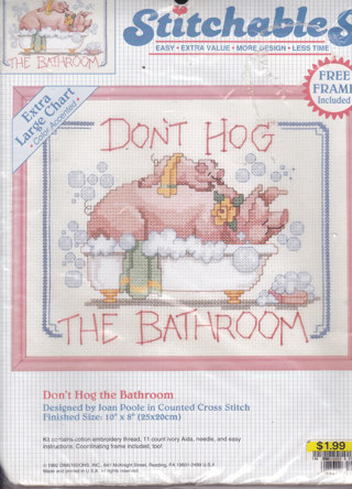 Free cross stitch quotdon39t hog the bathroomquot complete set for Bathroom cross stitch patterns free