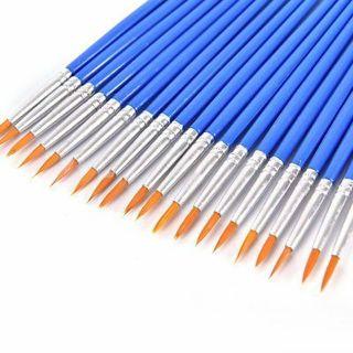 10pcs Nylon Hair Artist Paint Brush Acrylic Watercolor Round Fine Hand Point Tip