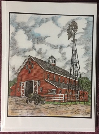 """RED BARN WITH WAGON - 5 x 7"""" art card by artist Nina Struthers - GIN ONLY"""