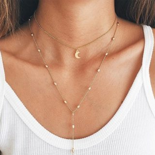 Fashion Gold Moon Beads Chain Pendant Multilayer Long Necklace Women Simple Beach Party Jewelry