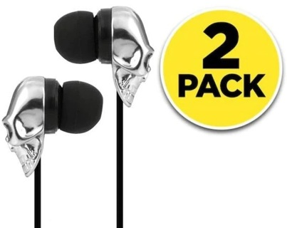 NEW (2-PACK) SKULL HEAD EARBUD HEADPHONES AUDIO CABLE AUX STEREO SOUND FREE SHIPPING