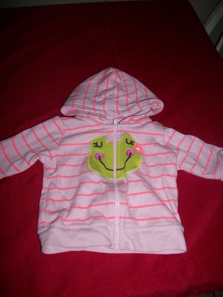 STRIPED PINK HOODIE WITH FROG ON FRONT 3 months