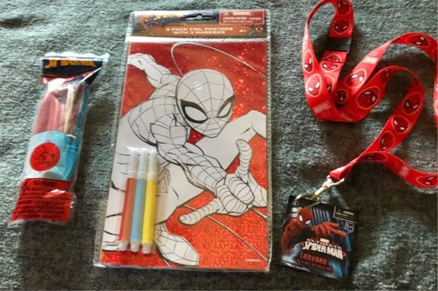 "BNIP Marvel's SPIDER-MAN Lot. 18"" Lanyard, 2 Foil Posters w/3 Markers and a Jumbo Ball!!"
