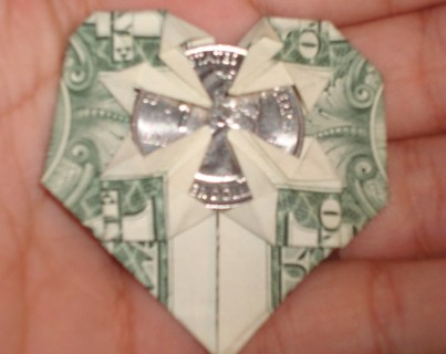 Free Dollar Bill Origami Heart With Quarter In Middle Other Craft