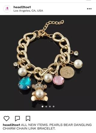 Chunky GoldLink Teddy Pearls Rhinestone Bracelet