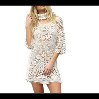 1 NEW Gorgeous Beach Dress Tunic Hollow Knitted FREE SHIPPING XNK