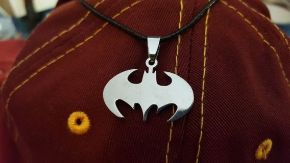 "BATMAN NECKLACE ■UP TO ""18 1/2 LEATHER CORD ROPE ■TITANIUM STEEL PENNANT■FREE $HIPPING"