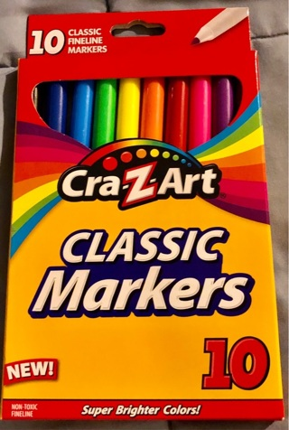 Brand New: Box of 10 Cray-Z-Art Classic Fine Line Markers!! Illustration/Spcl Effects/School/Crafts