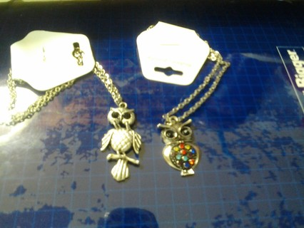 Beautiful Owl Necklaces Set Of 2 BNWT