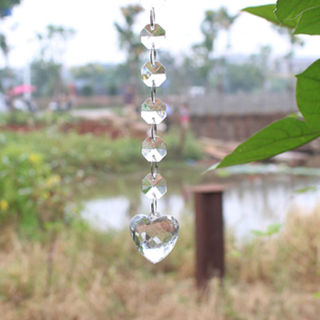 String Clear Acrylic Heart Pendant Prism Chandelier Lamp Hanging Decor DIY 14mm