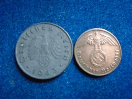 1937 & 1943 NAZI REICHPFENNIG COINS...FULL DATES!
