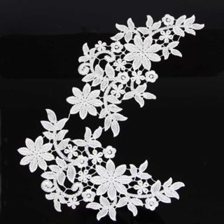 1 Pair Off-white Flower Floral Embroidered Polyester Lace Applique Sewing Craft
