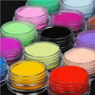 18 Colors Acrylic Nail Art Tips UV Gel Powder Dust DIY Decoration Set Manicure
