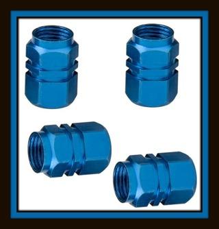 NEW 4-Pc Tire VALVE Stem Metal CAPS - BLUE - Fits All Standard Vehicle Tires Valves Stems!