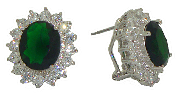 WINDSOR OMEGA BACK HIGH END EARRING in SAPPHIRE, RUBY or EMERALD Your choice NEW