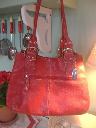 Tignanello Red Leather Purse Matching Wallet Gin