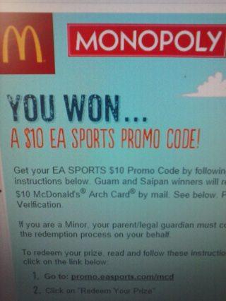 Free: $10 OFF EA Sports Promo Code McDonald's Monopoly Win