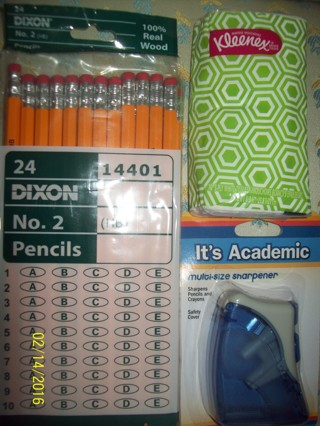 Lot of 3 Office Home Supplies Real Wood Pencils Sharpener Tissue-New