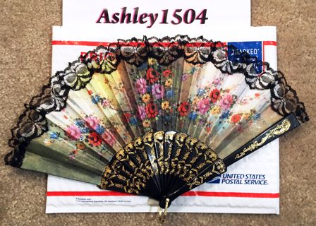 Beautiful Floral Art Design Fan Manual Handheld Travel Fan Gold Trim FREE SHIPPING