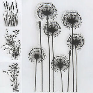 DIY Flower & Grass Transparent Silicone Clear Rubber Stamp Sheet Cling Scrapbook