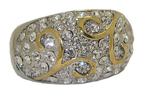 TWO TONE AUSTIRAN CRYSTAL DESIGNER RING 18 KARAT GOLD NEW SELECT YOUR SIZE FINE DOME JEWELRY