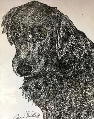 "Labrador dog - 5 x 7"" Art Card by Nina - GIN ONLY"