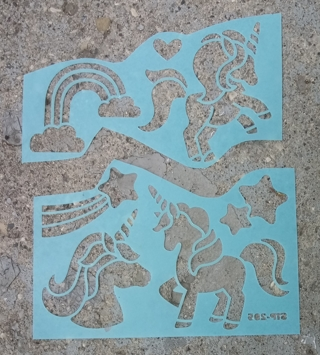 PLASTIC STENCILS UNICORN RAINBOW STAR USE ON WALLS CABINETS SHELVES ECT