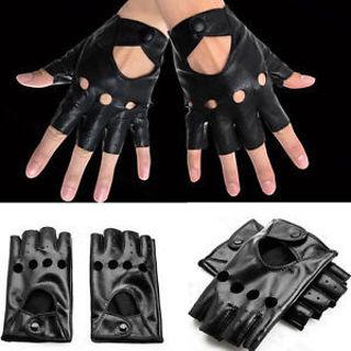 Black Fashion Half Finger Driving dance Women PU Leather Fingerless Gloves
