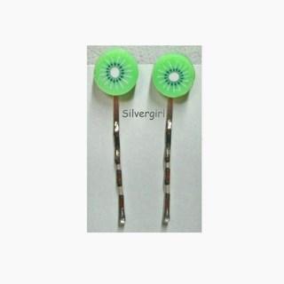 Polymer Clay Kiwi Slice Bobby Hair Pins