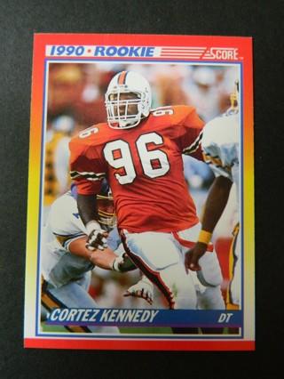 1990 SCORE #299 Cortez Kennedy (96) ROOKIE Card (Miami Hurricanes) DefenseTackle SEATTLE SEAHAWKS **