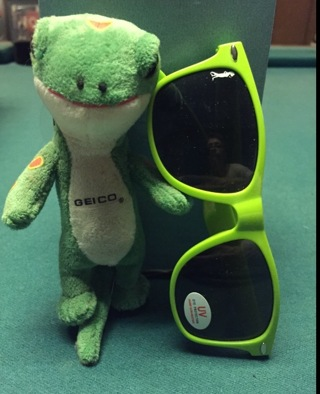 free geico gecko and sun glasses with gecko logo on corner of lense