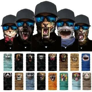Neck Gaiter 3D Animal Face Necks Cover Scarf Halloween Warmer Tube Bandana Hat