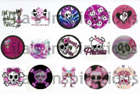 Punk/Skull Bottle Cap Image Sheet