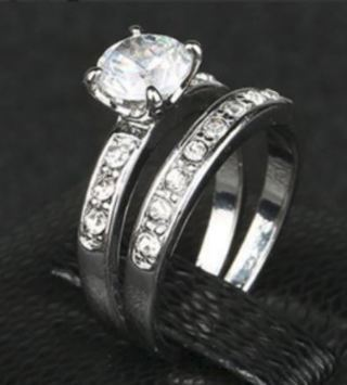 NEW White Cz 925 Sterling Silver Wedding Band Engagement Ring Set FREE SHIPPING
