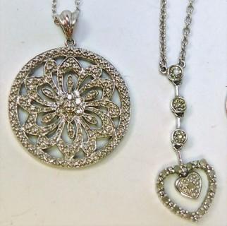Two Diamond Necklaces Mandala & Pendulum Heart