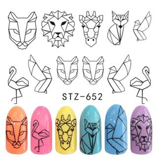 1pcs Animal Cartoon Designs Water Stickers For Nails Black Manicure Nail Art Decorations Sticker W