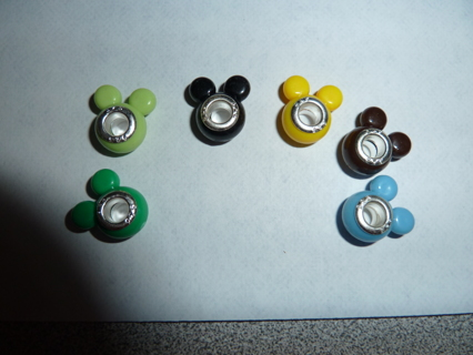 6  Color Mickey Mouse Euro  Charm Beads with 925 stamped cores