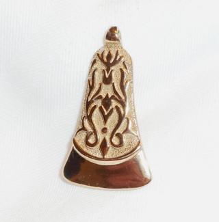 "Vintage Vendome Gold Tone 1 3/4"" Pendant Bell Shaped Ornate Signed EXCELLENT"