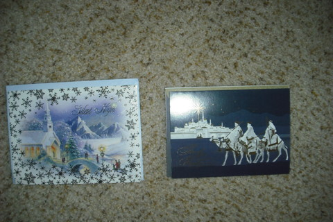 2 Religious Christmas Cards & Decorated Envs.