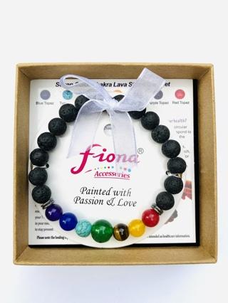 BNIB Fiona Chakra Diffuser Beaded Stone Lava Bracelet