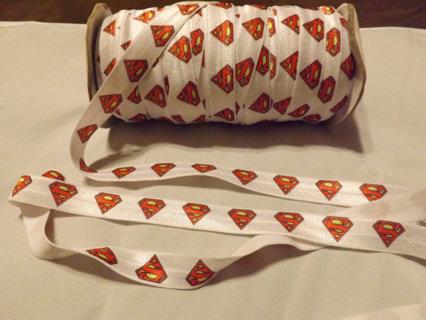 2 Superman Fold Over Elastic Hair Tie Strips (FOE) Handmade