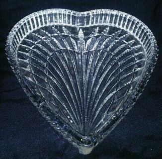 """Waterford Heart Shaped Cut Crystal 7 1/2"""" inch Signed Candy Dish"""