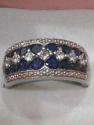 925 STERLING SILVER BLUE SAPPHIRE & CZ RING