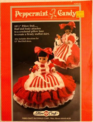 Free Peppermint Candy 10 Pillow Doll 13 Bed Doll Dress Vintage