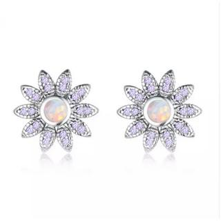 Fire Opal Flower Stud Earrings
