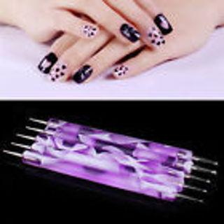 2x Marbleizing Dotting Manicure Tools Pen Nail Art Paint Dot Draw Pen Decor 2Way