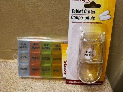 PILL ORGANIZER & PILL CUTTER=FREE SHIPPING&TRACKING