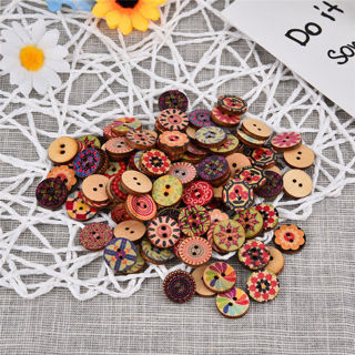 [GIN FOR FREE SHIPPING] 50PCs Retro Mixed Wooden Buttons Colorful Round Sewing