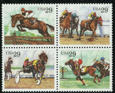 Scott 2756-59, Sporting Horses, 1993 Issue, MNH Se-Tenant Block